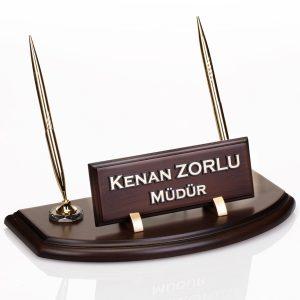 Ahşap Masa İsimlik Ofis Hediyesi Masa İsimliği Hediye Çift Kalemli İsimlik