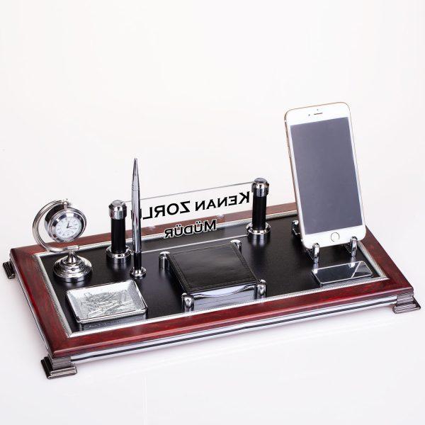 Ahşap Kaliteli Masa Üstü İsimlik Seti Telefon tutacaklı ve saatli