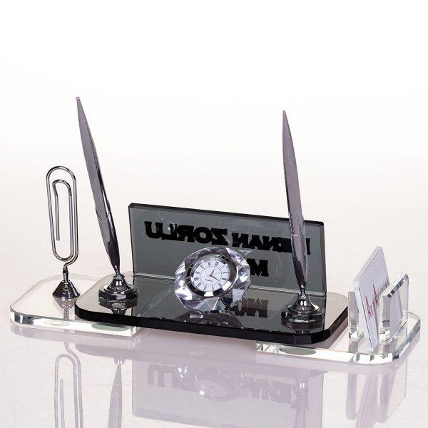 Hediye masa isimliği kristal ofis masa isimlik seti masa üstü isimlik
