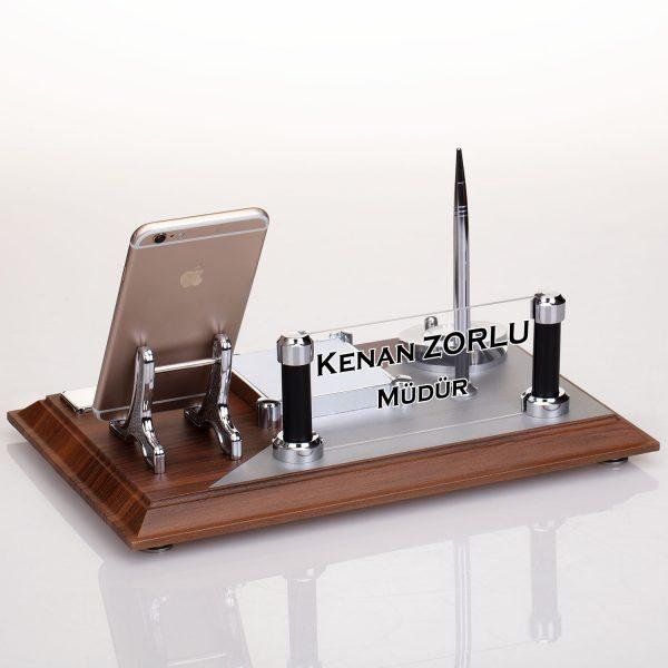 Ahşap Masa Üstü İsimliği Telefon Tutacaklı kalemli masa isimliği büro hediyesi isimlik