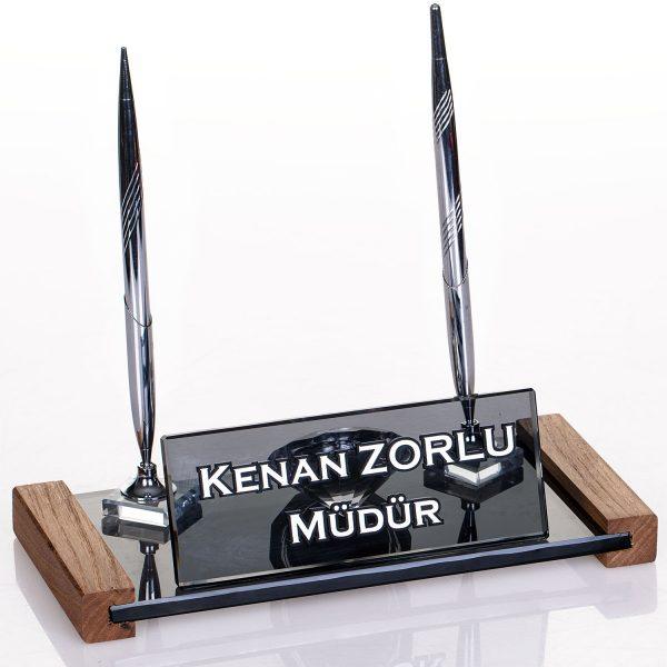 Çift Kalemli Masa İsimliği Kristal Masa İsimlik Ofis Hediyesi Masa İsimliği