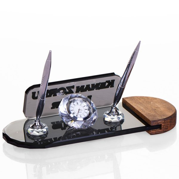En yeni ofis hediyeleri kristal masa isimliği gümüş kalemli isimlik