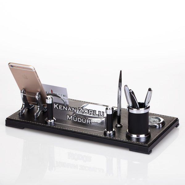 En Güzel Ofis Hediyesi Masa İsimliği Lüks Masa İsimlik Seti Telefon tutacaklı
